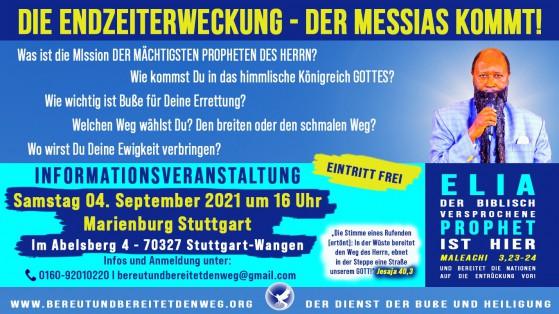 Pressemeldung Die Endzeiterweckung - Informationsveranstaltung in Stuttgart am 4.09.2021